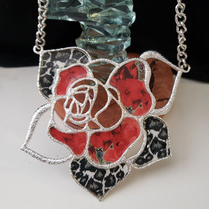 Jewelry - Red/silver/black rose necklace